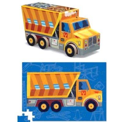 Puslespil - lastbil med container, 48 brikker
