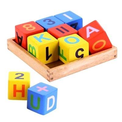 Byggeklodser i træ - bogstaver og tal - Bigjigs