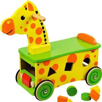 Køredyr - giraf i træ - Bigjigs