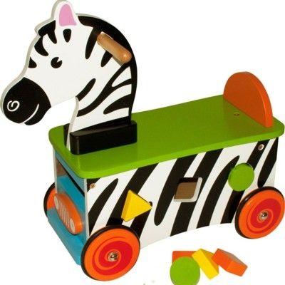 Køredyr - zebra i træ - Bigjigs