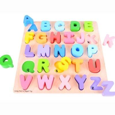 Stort puslespil med bogstaver i træ - Bigjigs