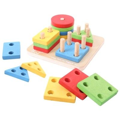 Puslespil med farver og former - hus og træ - Bigjigs