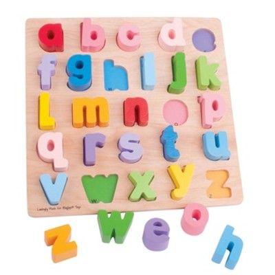 Stort puslespil med små bogstaver i træ - Bigjigs