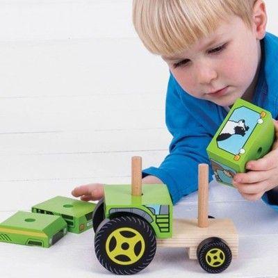 Træbil - Traktor med klodser - Bigjigs