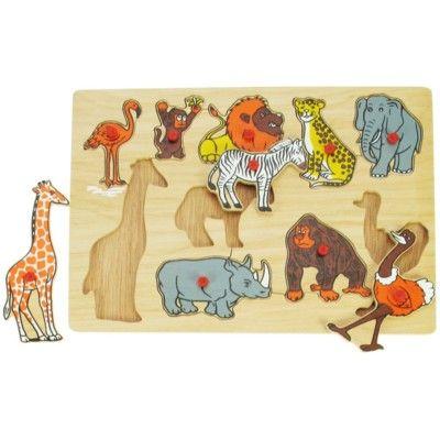 Knop-puslespil, dyr i junglen 10 brikker - Bigjigs
