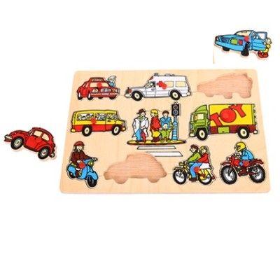 Knoppuslespil - køretøjer i trafiken, 10 brikker - Bigjigs