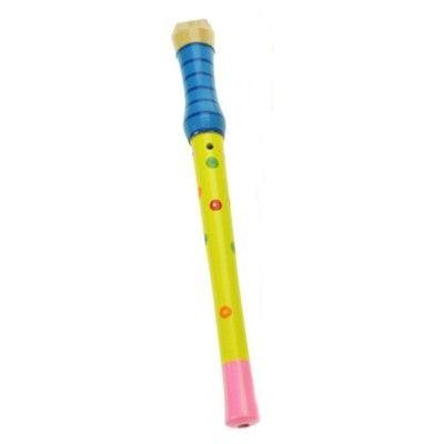 Blokfløjte i træ - blå/gul