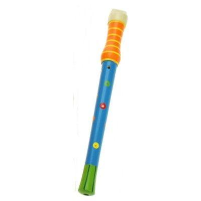 Blokfløjte i træ - orange/blå