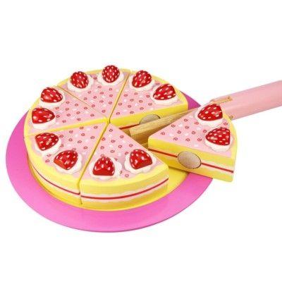 Legemad - kage i træ, jordbær - Bigjigs