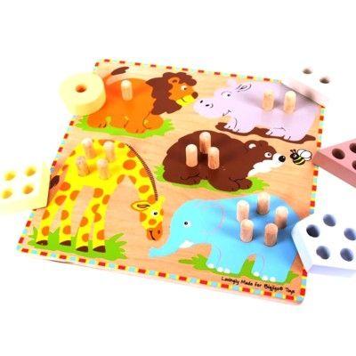 Puslespil - geometri og regne - vilde dyr - Bigjigs