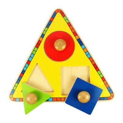 Knoppuslespil - geometriske former, 3 brikker