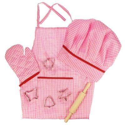 Kokkehue og forklæde - lyserød - Bigjigs