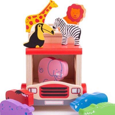 Puttekasse i træ - Safaribus - rød - Bigjigs