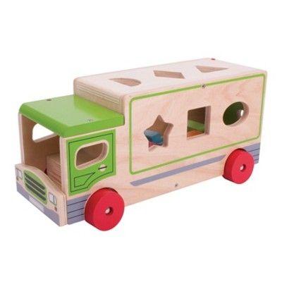 Puttekasse i træ - lastbil - grøn - Bigjigs