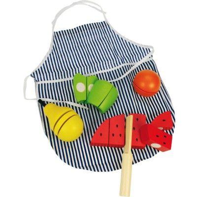 Legemad - forklæde og 4 frugter