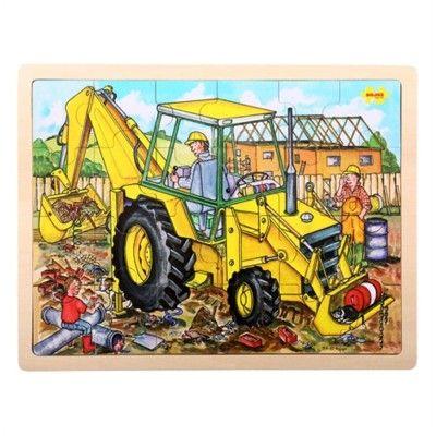 Puslespil - gravemaskine, 24 brikker - Bigjigs