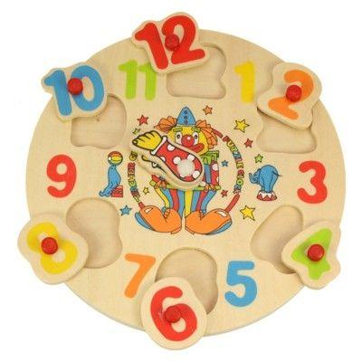 Klokke i træ med tal brikker - klovn - Bigjigs