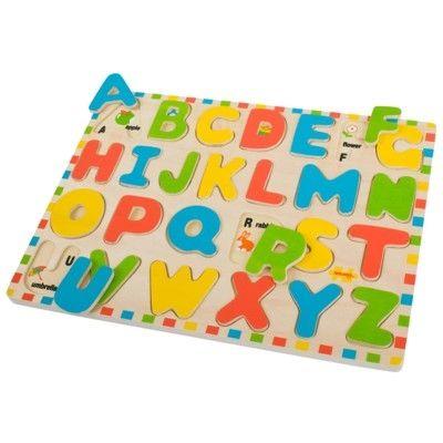 Puslespil i træ med bogstaver og billeder - Bigjigs
