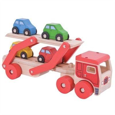 Lastbil i træ med 4 biler - rød - Bigjigs