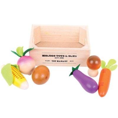 Legemad - grøntsager og rodfrugter i trækasse
