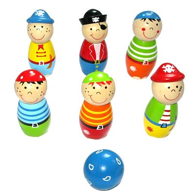 Bowlingspil i træ - pirat - Bigjigs