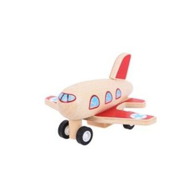 Flyvemaskine i træ - røde vinger