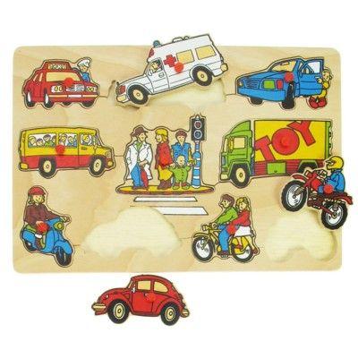 Knoppuslespil - køretøjer i trafiken - Bigjigs
