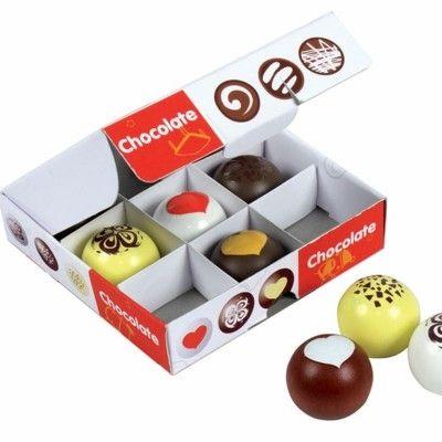 Legemad - æske med chokolade kugler i træ