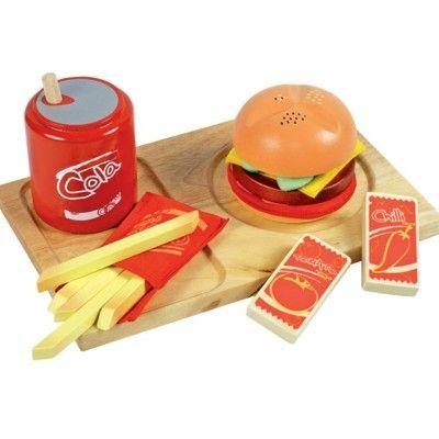 Legemad - træbakke med hamburgermeal