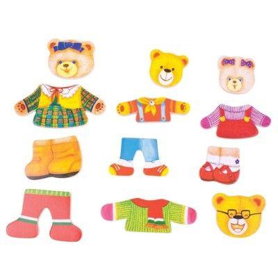 Puslespil - giv bamsefamilien tøj på - Bigjigs
