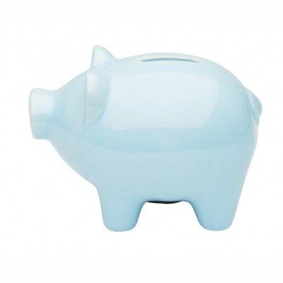 Sparebøsse i porcelæn - Lyseblå gris