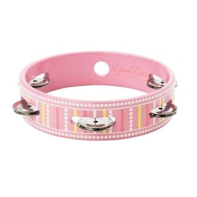 Tamburin, rosa med striber