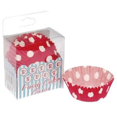 Muffinsforme - røde med hvide prikker - 75 stk