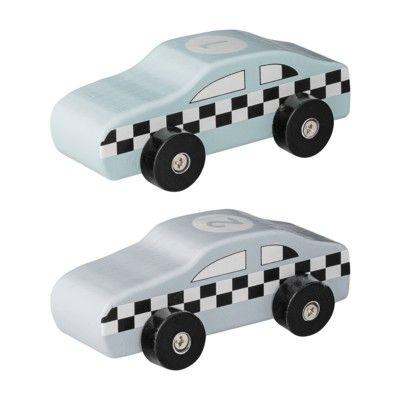 Træbiler - racerbiler 2 stk. - mint & grå - Bloomingville
