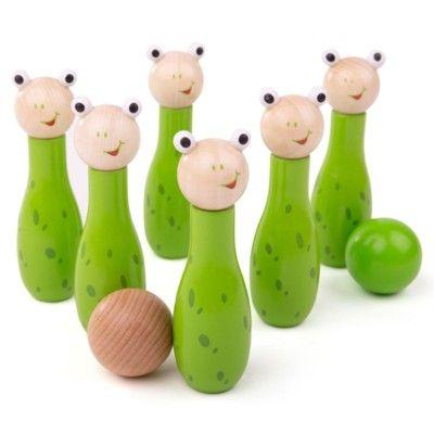 Bowlingspil i træ, frø - Bigjigs