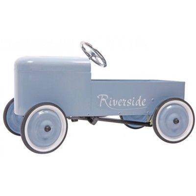 Pedalbil i metal - nostalgisk blå - Baghera