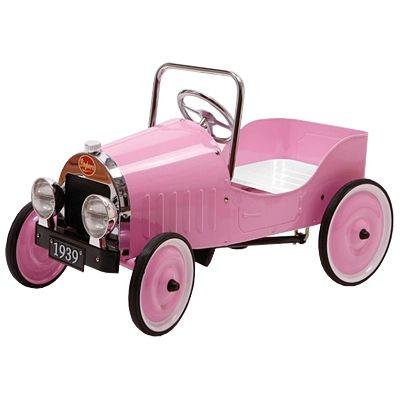 Pedalbil i metal - lyserød
