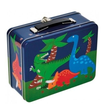 Kuffert i metal med dinosaur