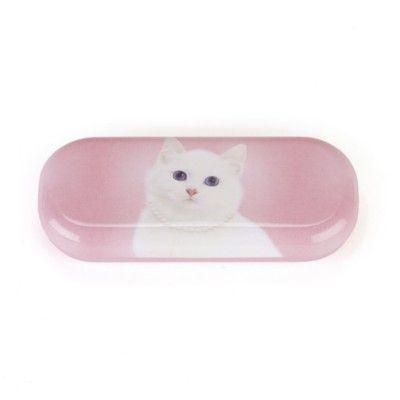 Brilleetui - hvid kat med halskæde - Catseye