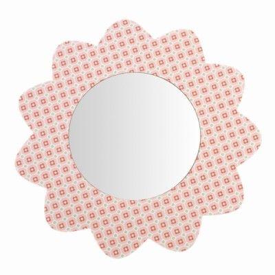 Spejl med lyserøde blomster