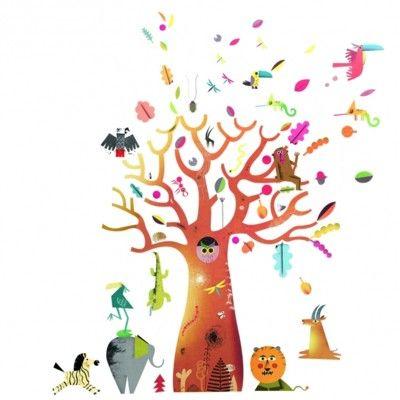 Wallstickers - træ med dyr - stort