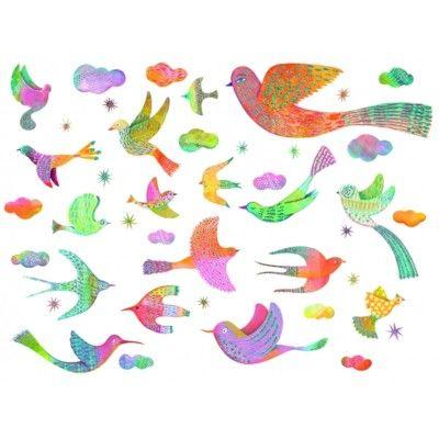 Wallstickers - fugle med glitter - Djeco