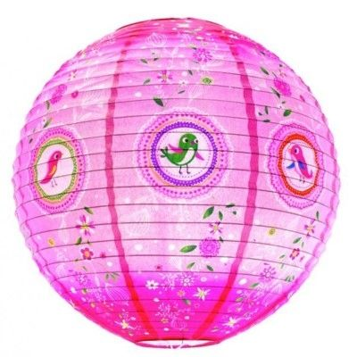 Rislampe - lyserød med små fugle