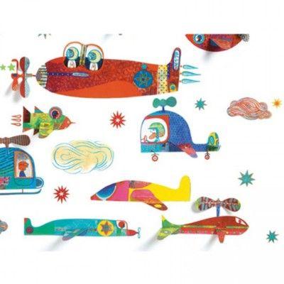 Wallstickers - flyvemaskiner i 3D - Djeco