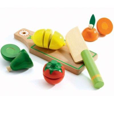 Legemad i træ - Skærebræt med frugt og grøntsager - Djeco