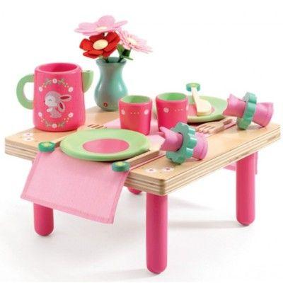 Bord og service i træ - kaninens morgenmad - Djeco