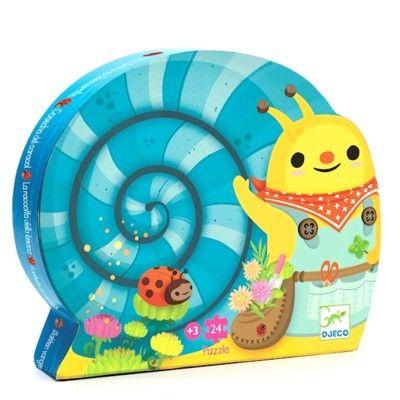 Puslespil i siluetæske - Sneglen plukker blomster - Djeco