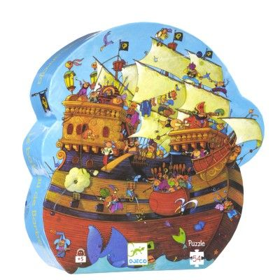 Puslespil i siluetæske - piratskib - 54 brikker - Djeco