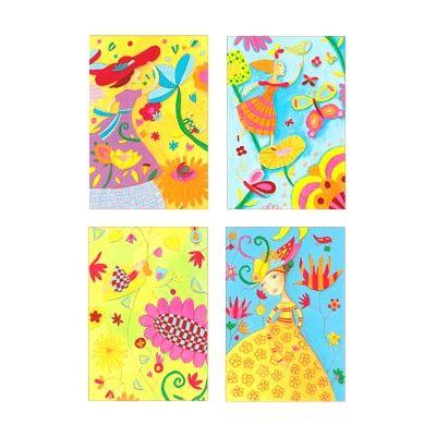 Lav billedkunst efter tal med penseltusch - forår - Djeco