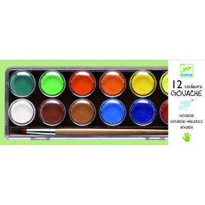 Vandfarver, 12 stk i klassiske farver - Djeco